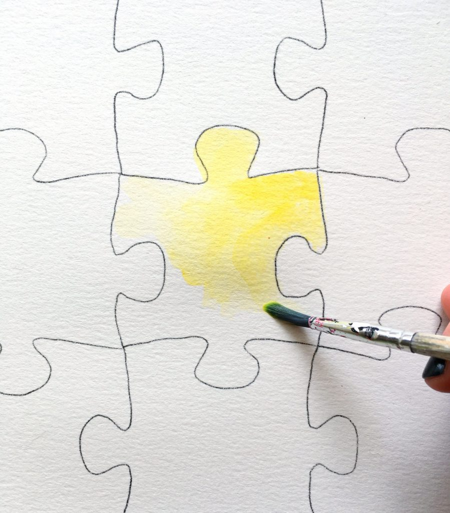 watercolor painting of puzzle pieces