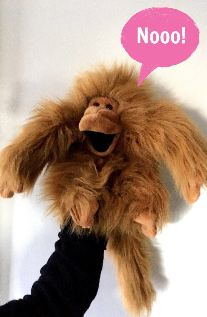 """monkey puppet with speech bubble that says """"No!"""""""