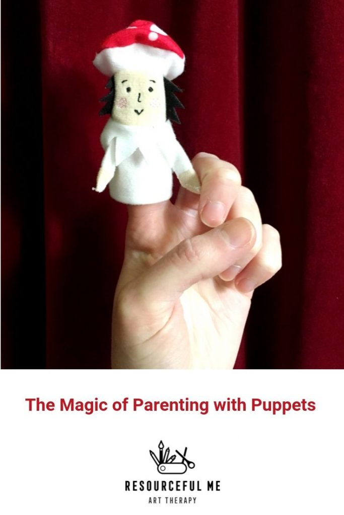 """pinterest graphic of finger puppet and text """"the magic of parenting with puppets"""""""