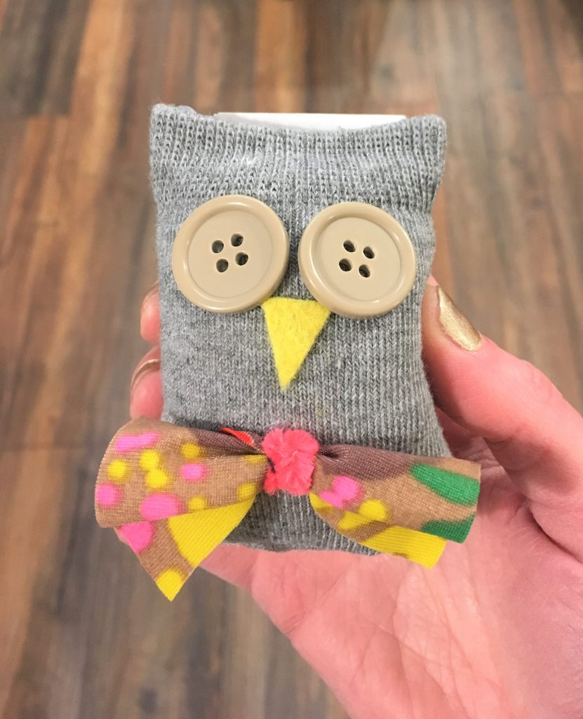 stuffed owl made from a sock