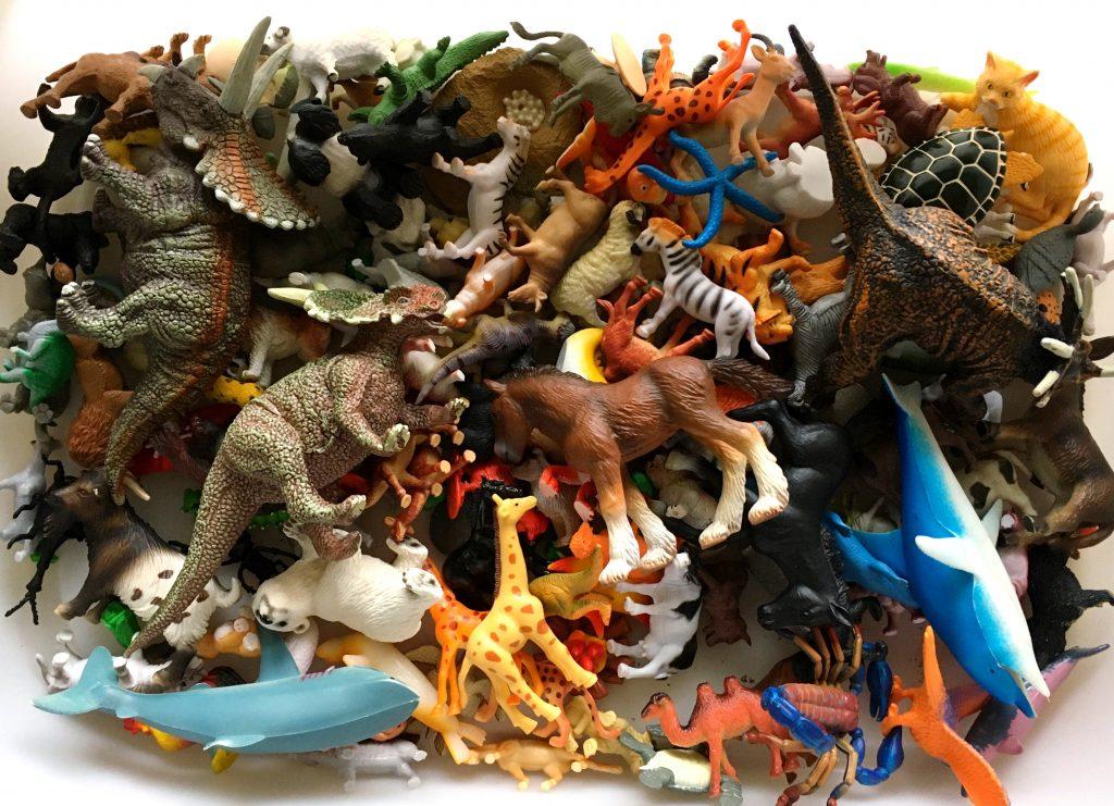 bin of plastic animals