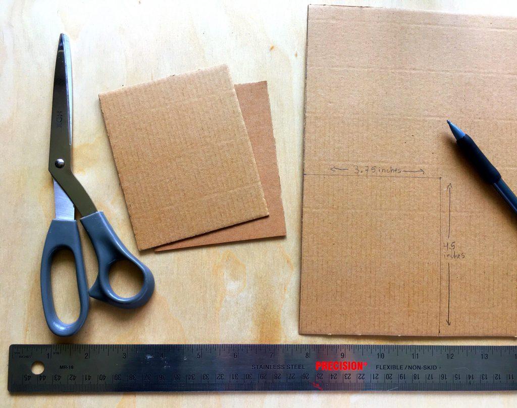 cardboard, ruler, pencil, scissors