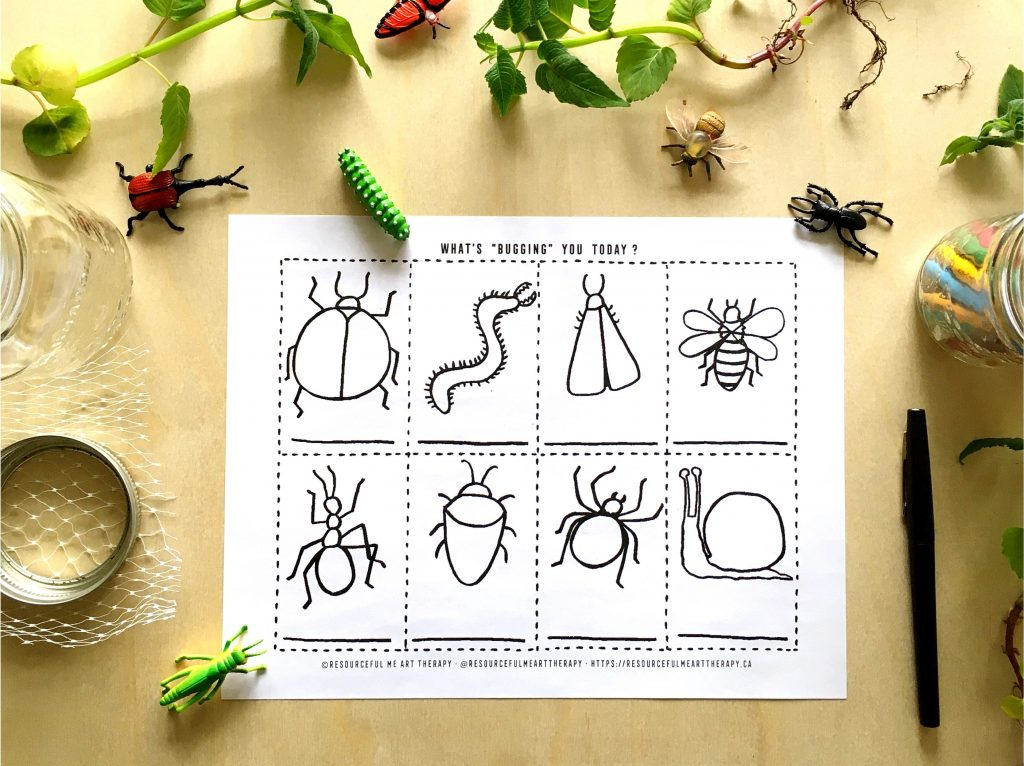 bug drawings, mason jar, pencil crayons, toy bugs