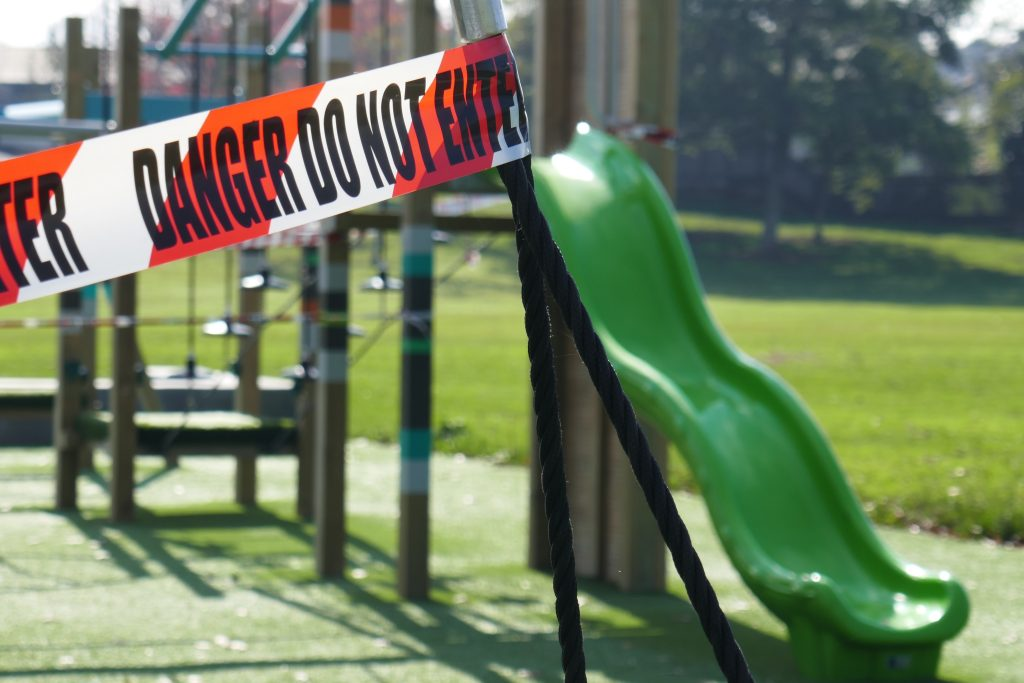playground closed with caution tape