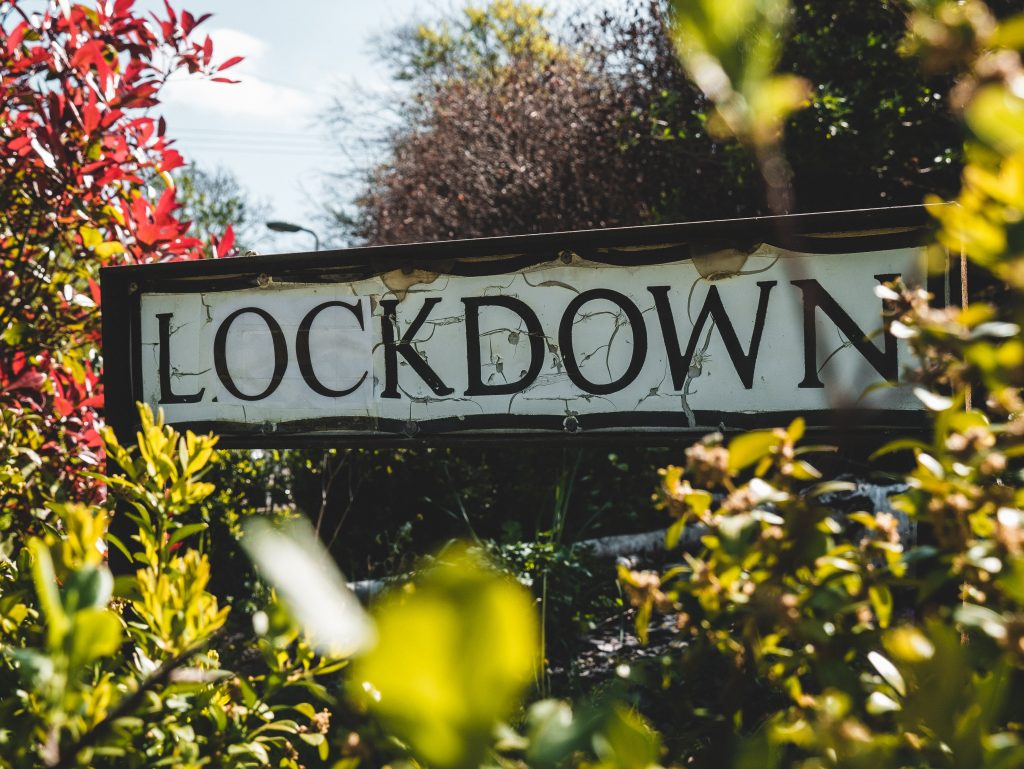 """Sign that say """"Lockdown"""" surrounded by foliage"""