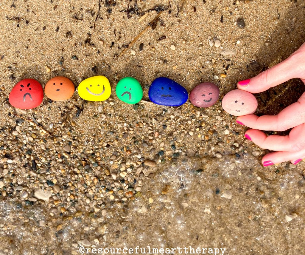 a rainbow of painted rocks with feelings faces arranged close to the waters edge