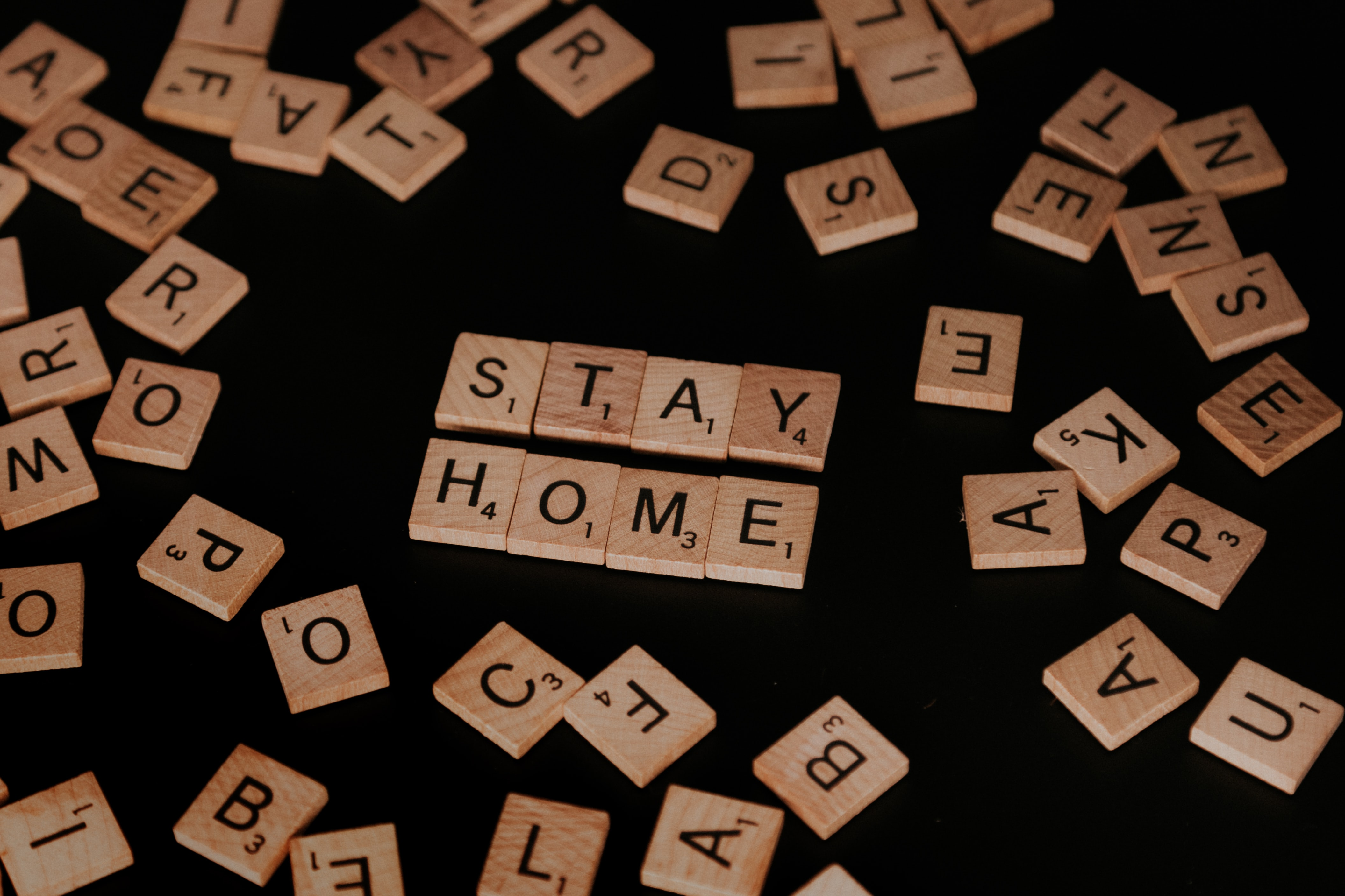 """scrabble letters that spell """"stay home"""""""