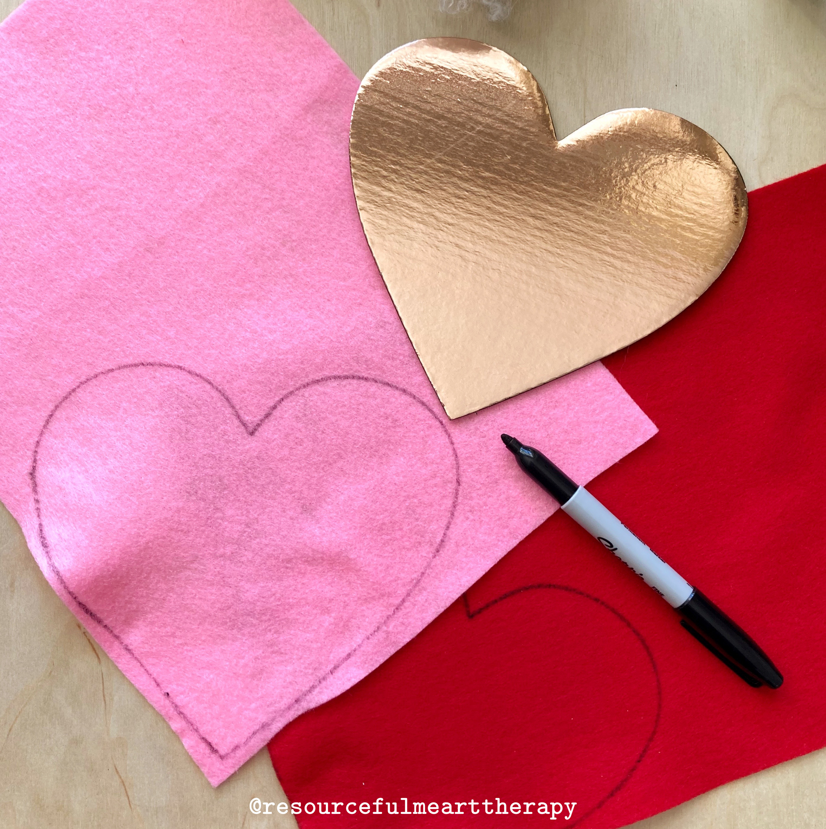 Photo of a heart shape traced onto a piece of felt