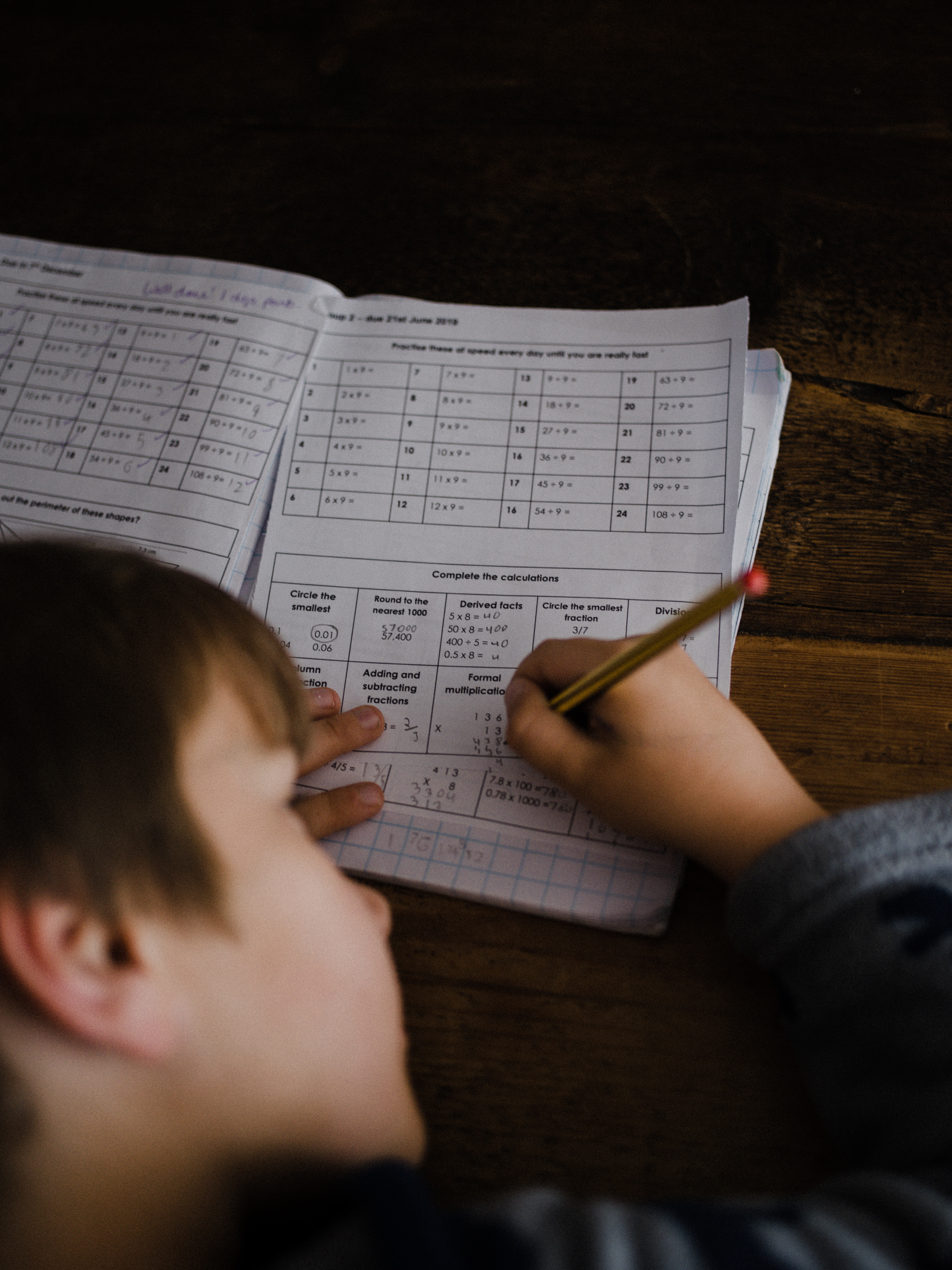 Photo of brown-haired child working on math assignment