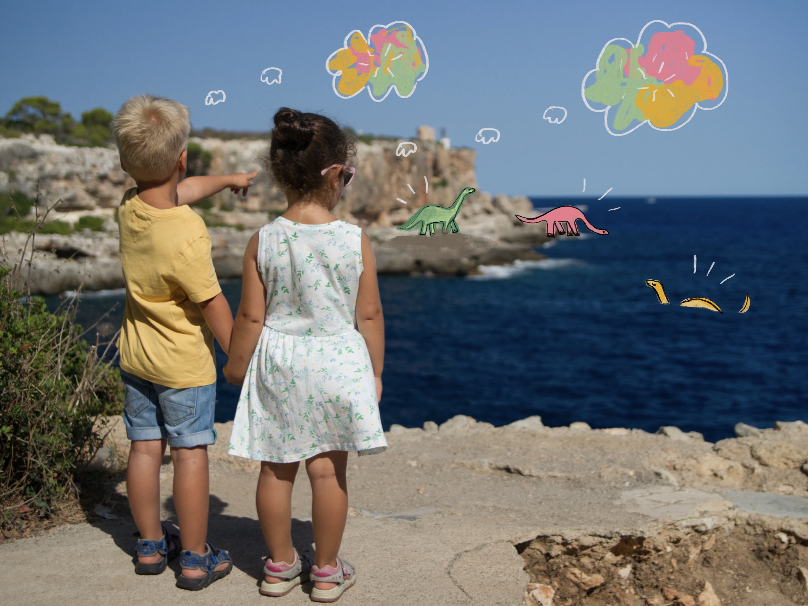 Photo of two children holding hands and looking out at the ocean, with digital doodles of three long-neck dinosaurs added into the landscape