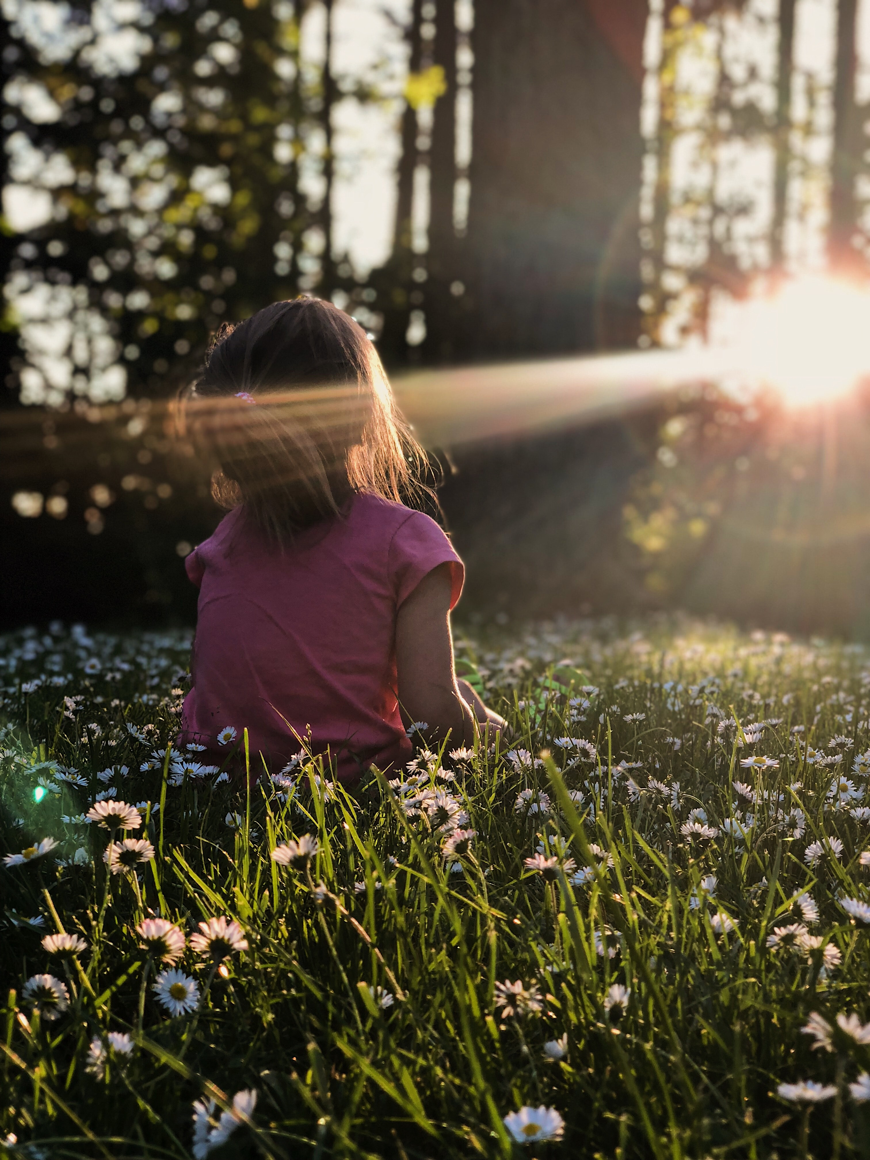 photo of child in the woods looking into the setting sun shining on their face